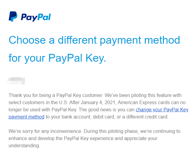 《【Paypal Key将不能连接Amex信用卡】史无前例Bug技巧——使用Paypal Key将信用卡转换成借记卡,利用几乎任意消费赚取信用卡丰厚返利》