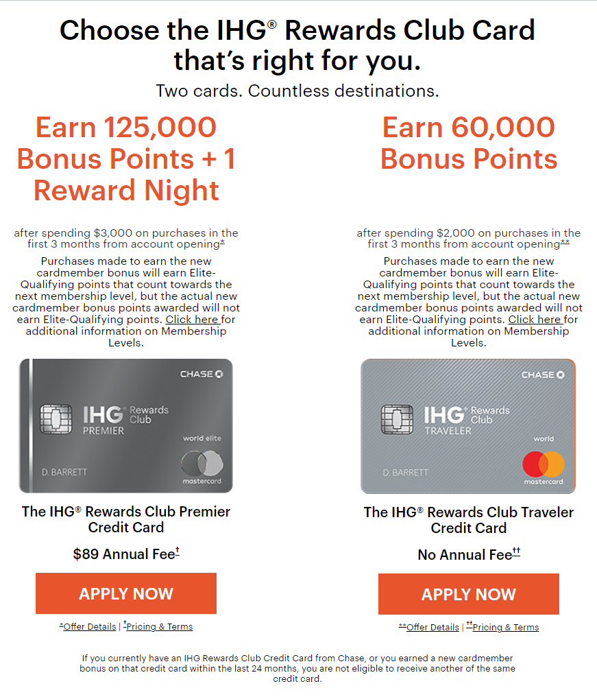 《125K点数 + 40K免房券全新史高开卡奖励 - Chase IHG Premier信用卡》
