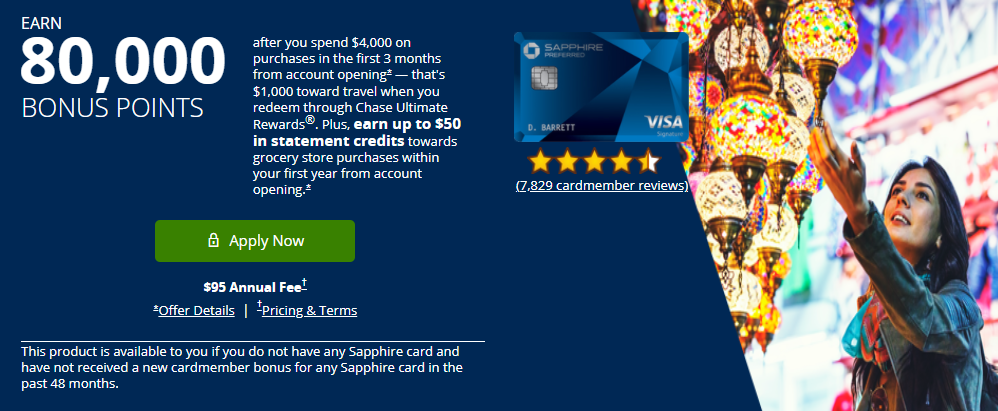 《【80K+全新史高开卡奖励来袭!】传统神卡蓝宝石Chase Sapphire Preferred强势升级》